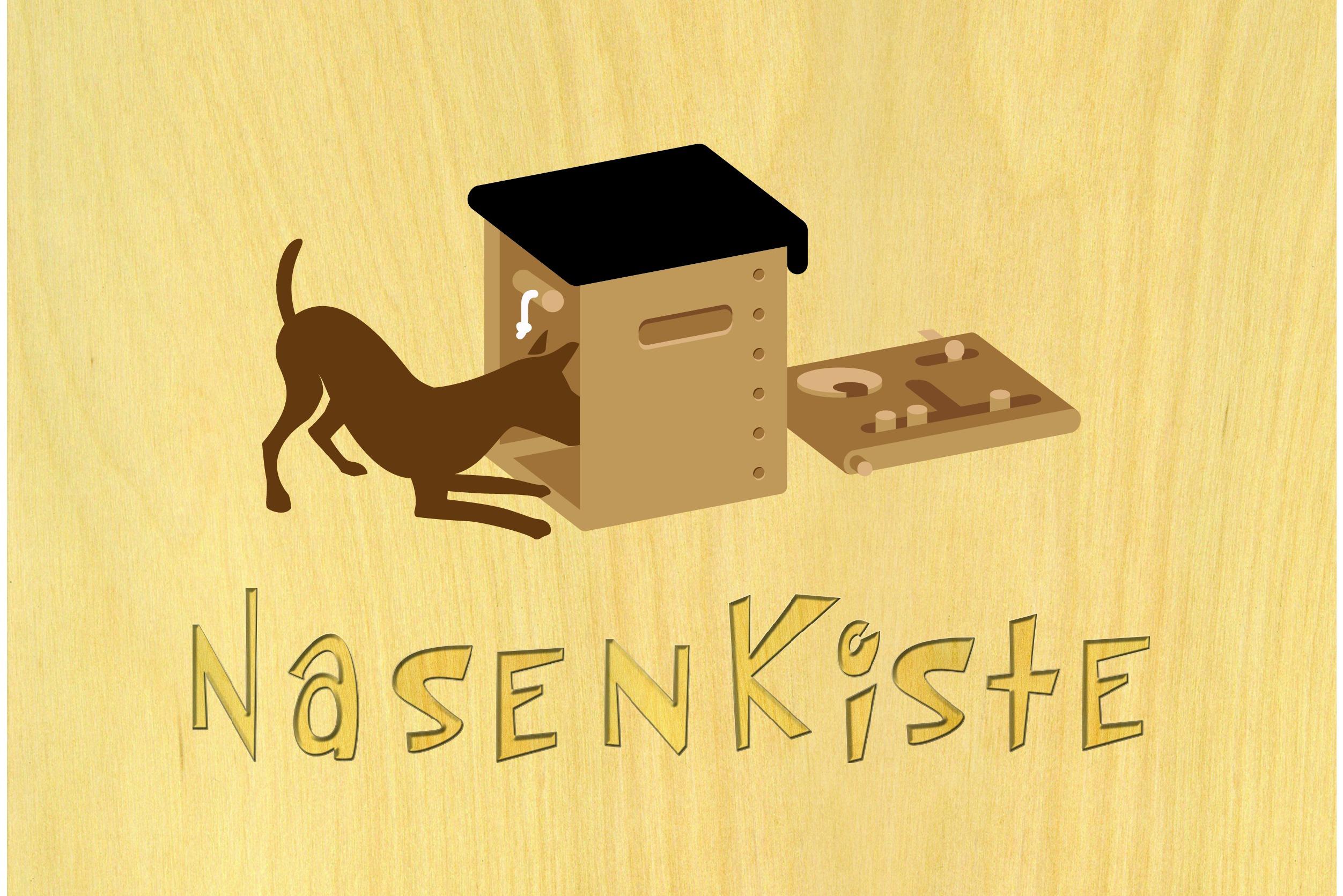 Logo der Nasenkiste mit Bild der Spielkiste bzw. dem Intelligenzspielzeug für Hunde.